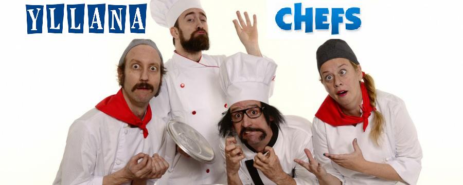 Imatge dels 4 actors de l'espectacle vestits de chef
